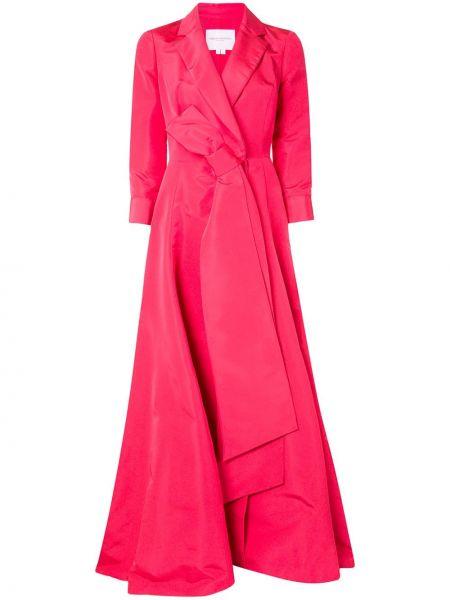 Шелковое розовое платье с запахом на молнии Carolina Herrera