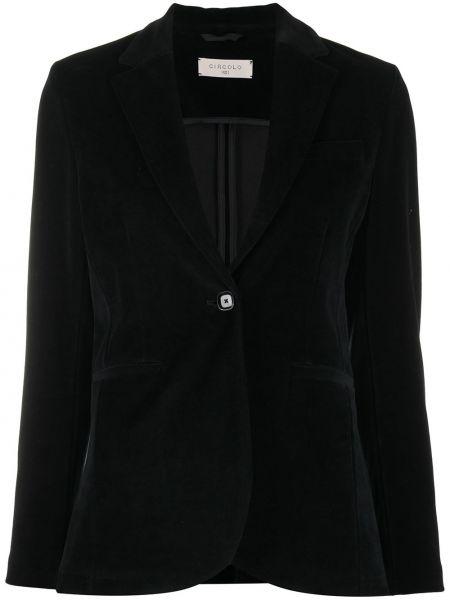Бархатный однобортный черный удлиненный пиджак Circolo 1901