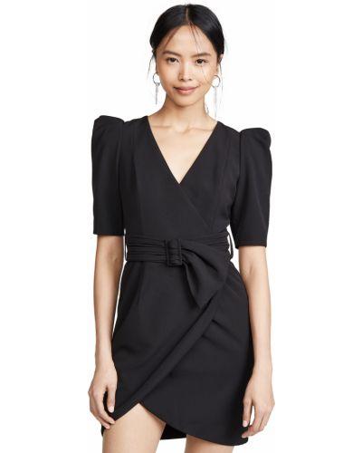Черное платье мини с поясом с V-образным вырезом Black Halo