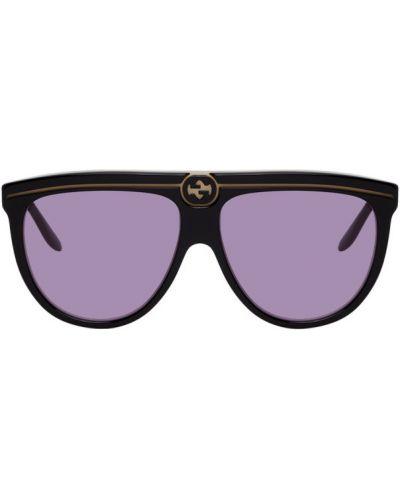 Złote czarne okulary Gucci