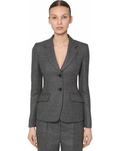 Приталенная шерстяная куртка с карманами Prada