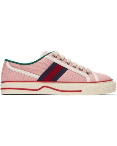 Różowe sneakersy sznurowane koronkowe Gucci