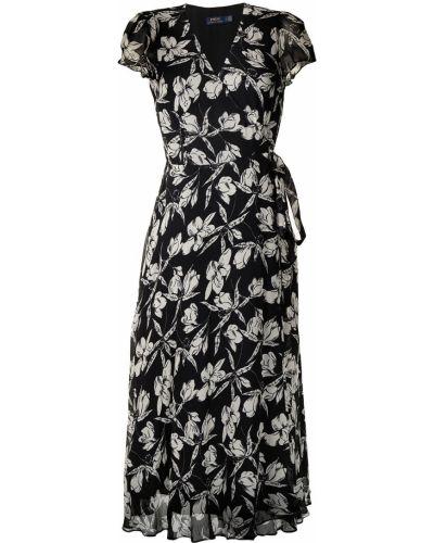 Платье макси на запах - черное Polo Ralph Lauren