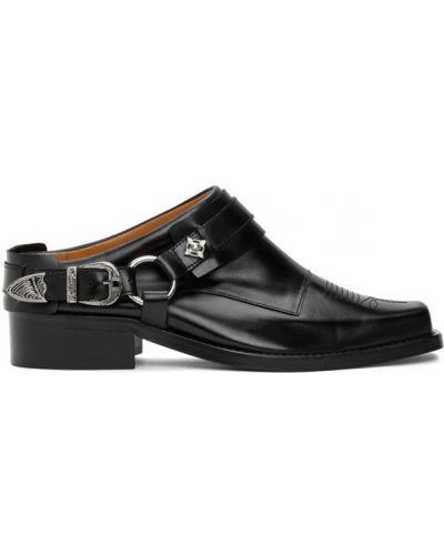 Кожаные черные лоферы с пряжкой на каблуке Toga Virilis