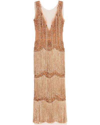 Вечернее платье с вышивкой макси Marchesa