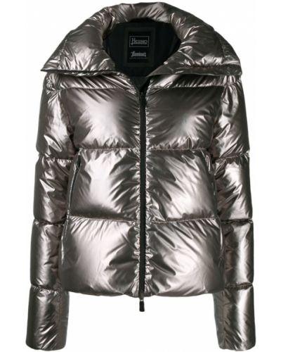 Длинная куртка серебряная с карманами Herno