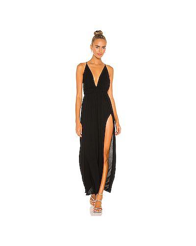 Черное платье на шнуровке на резинке с разрезом Indah