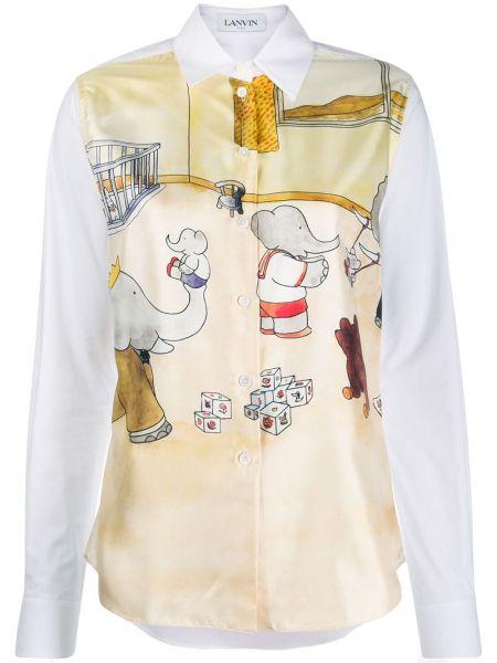 Рубашка с длинным рукавом с принтом классическая Lanvin