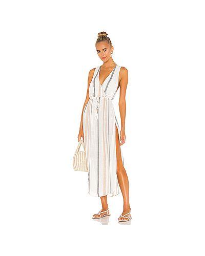 Бежевое платье с разрезом эластичное из вискозы Lspace