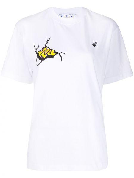 Bawełna żółty koszula z krótkim rękawem okrągły dekolt krótkie rękawy Off-white