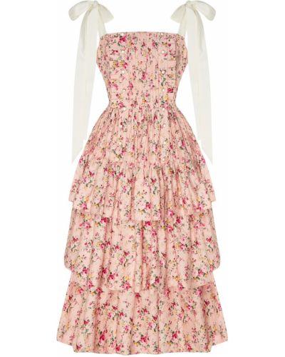 Приталенное розовое пышное платье миди Maison Bohemique