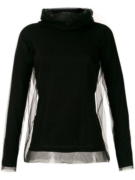 Черная блузка с длинным рукавом с воротником из фатина узкого кроя Gloria Coelho