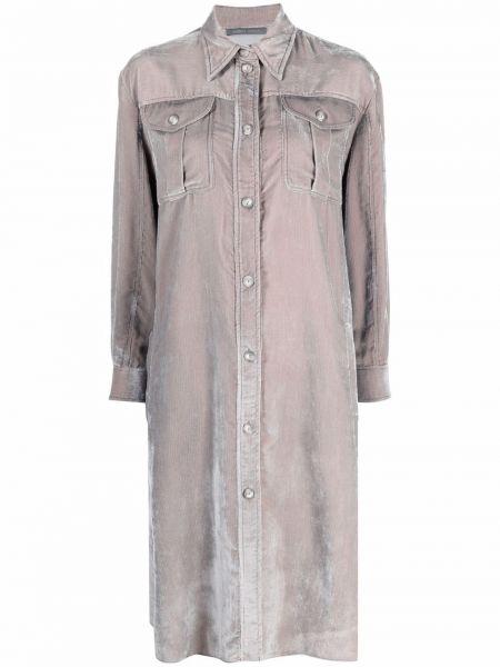 Платье макси с длинными рукавами - серое Alberta Ferretti
