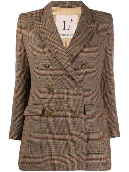 Коричневый удлиненный пиджак в клетку двубортный L'autre Chose