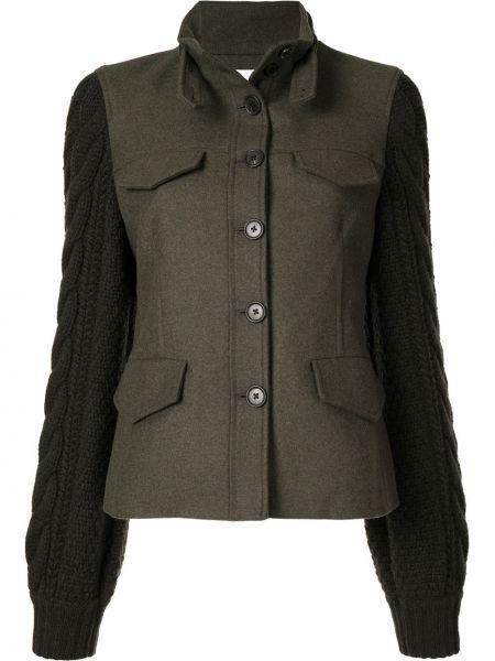 Шерстяная зеленая куртка с воротником Veronica Beard