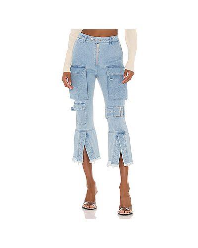 Хлопковые укороченные джинсы с карманами с пряжкой до середины колена Marques Almeida
