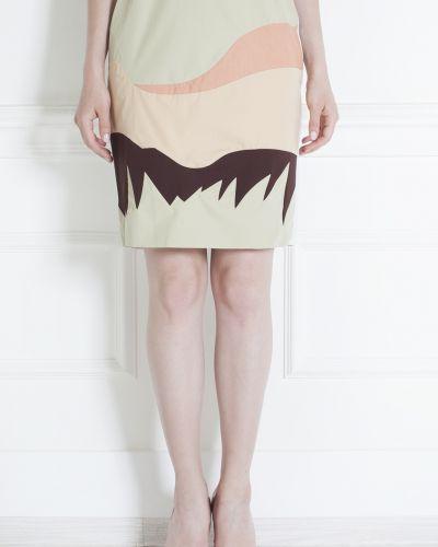 Шелковая бежевая юбка карандаш до середины колена Vika Gazinskaya