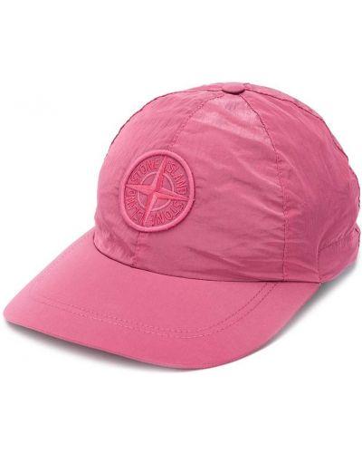 Ze sznurkiem do ściągania różowy czapka z daszkiem z haftem Stone Island