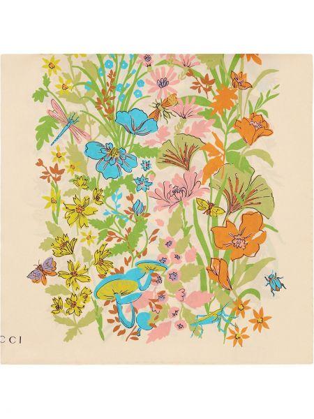 Prążkowany szalik z jedwabiu z printem Gucci