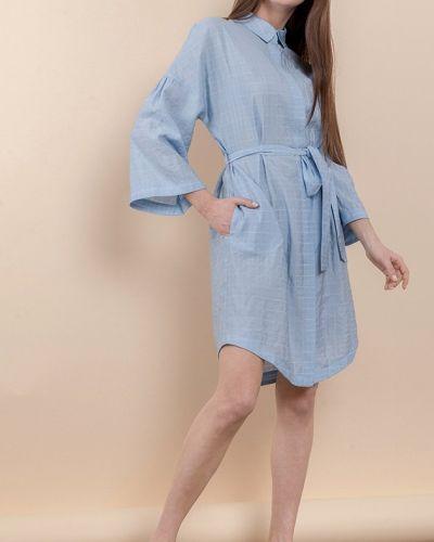 Синее платье с длинными рукавами с поясом Mr520