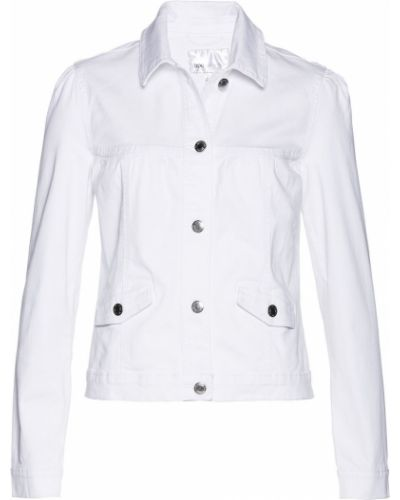 Джинсовая куртка белая с кокеткой Bonprix