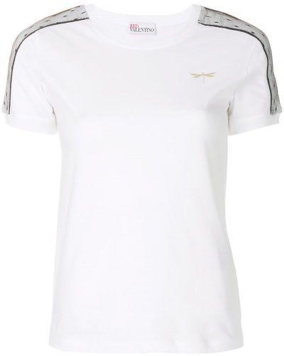 Белая футболка с заплатками Red Valentino