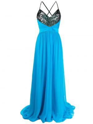 Шелковое платье макси - синее Emilio Pucci