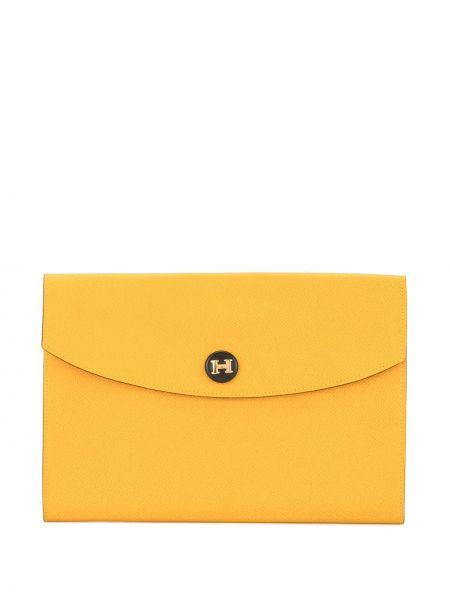 Желтый кожаный клатч винтажный Hermes