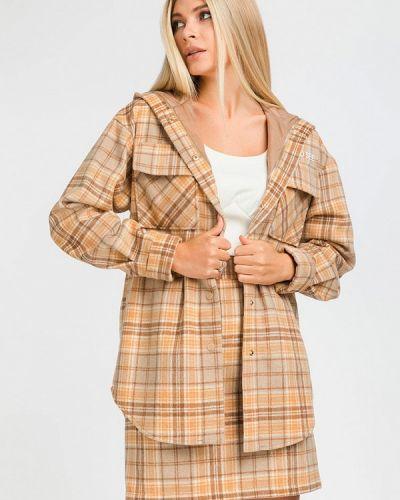 Костюмный коричневый юбочный костюм Clever Woman Studio