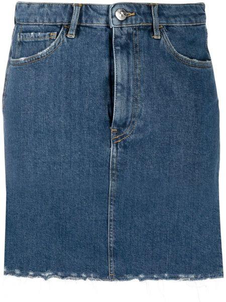Хлопковая синяя джинсовая юбка на молнии 3x1