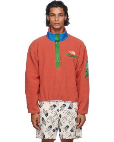 Z rękawami biały pulower z kołnierzem z haftem Brain Dead