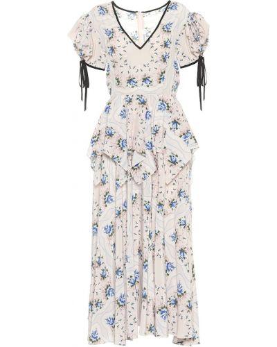 Шелковое платье макси - белое Rodarte