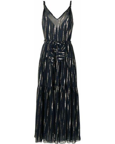 Прямое шелковое синее платье макси Manning Cartell