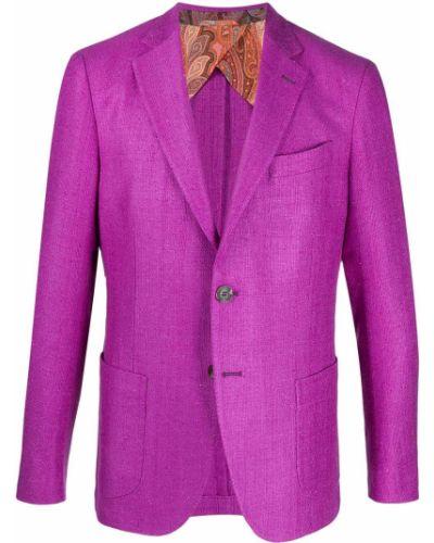 Однобортный малиновый удлиненный пиджак с накладными карманами Etro