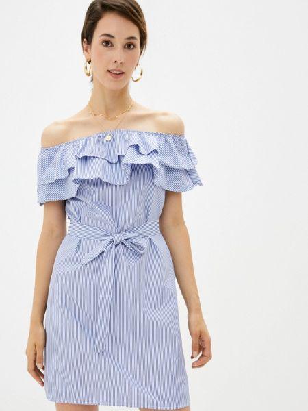 Синее платье с открытыми плечами Shelter