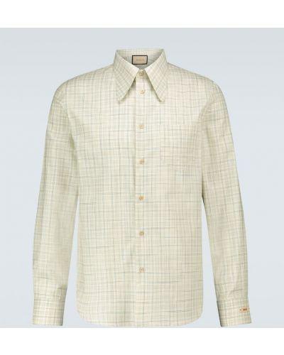 Niebieski bawełna z rękawami klasyczna koszula Gucci