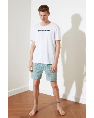Piżama bawełniana - zielona Trendyol