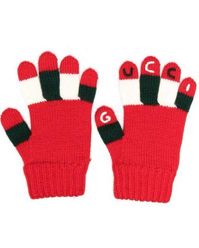 Шерстяные красные перчатки в рубчик Gucci Kids