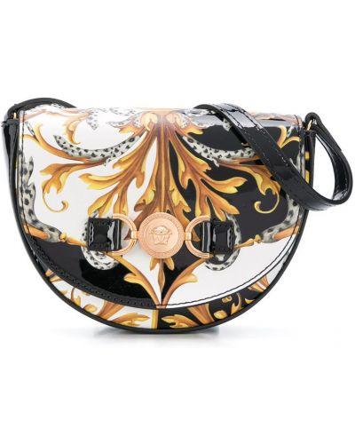 Черная кожаная сумка на плечо с карманами Young Versace