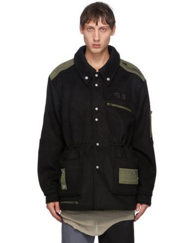 Czarna długa kurtka wełniana z haftem Xander Zhou