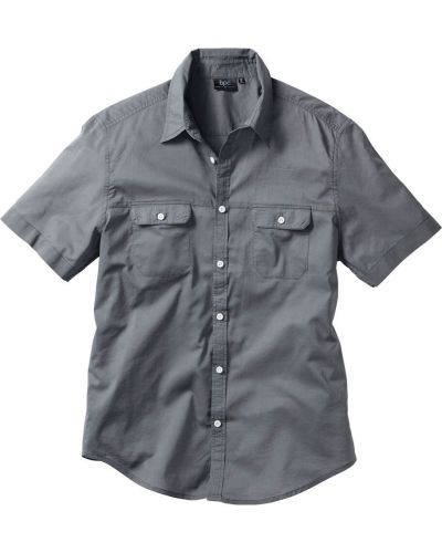 Рубашка с короткими рукавами серая Bonprix