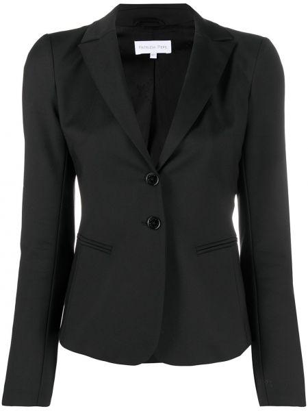Приталенный черный удлиненный пиджак на пуговицах Patrizia Pepe