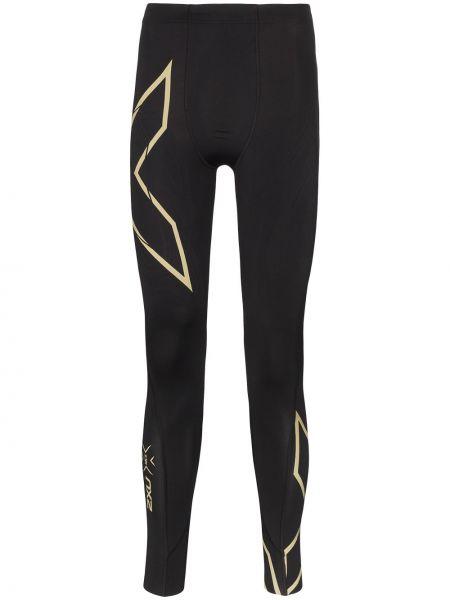 Czarne legginsy do biegania z nylonu 2xu