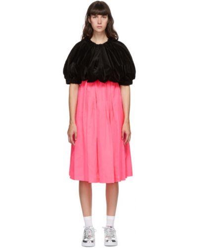 Плиссированное бархатное черное платье миди Comme Des Garçons