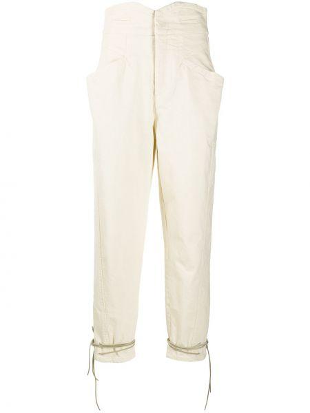 Bawełna z wysokim stanem niebieski jeansy na wysokości z kieszeniami Isabel Marant