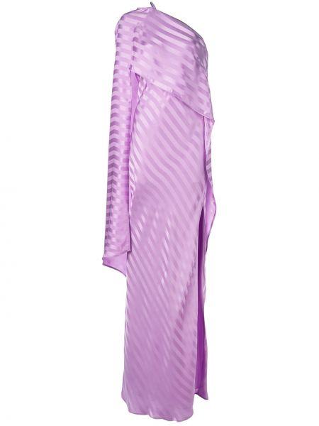 Фиолетовое приталенное шелковое платье на одно плечо Michelle Mason