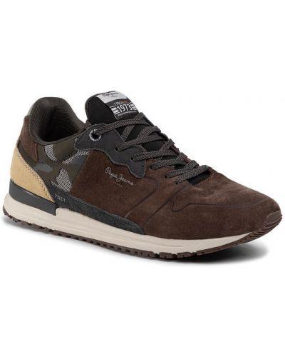 Brązowe sneakersy Pepe Jeans