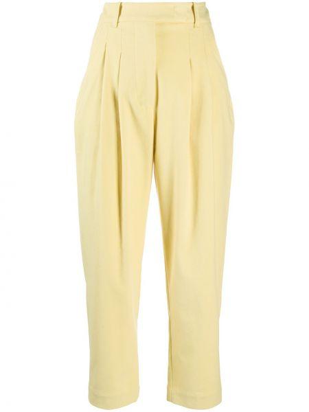 Желтые укороченные брюки с накладными карманами с заплатками с высокой посадкой Tela