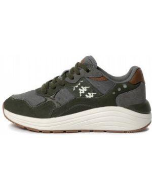 Зеленые классические текстильные кроссовки на шнуровке Kappa