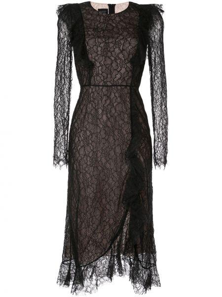 Шелковое кружевное черное платье миди Giambattista Valli